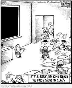 LIttle Stephen King reads his first story in class. Thanks Fans of Stephen King Stephen King It, Steven King, Emily King, I Love Books, Good Books, Library Humor, Humor Grafico, First Story, Funny Cartoons
