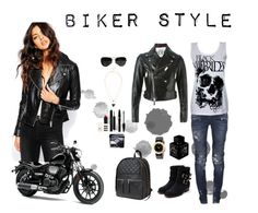 """""""Biker Style"""" by dellaila on Polyvore featuring Rupert Sanderson, River Island, Eastpak, Balmain, Dsquared2, Ray-Ban, Christian Dior, Mary Kay, Marc by Marc Jacobs and Lalique"""