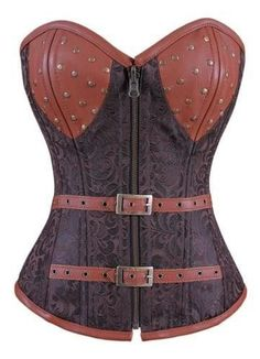 Brown Steampunk Corset ~ @Craftsycassie how close can you get the top of the dress to this kind of style?