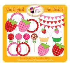 Digital Clipart Sweet Strawberry colors Lollipop Cute Cupcake Circle Bunting clip art designer element Personal & Commercial Use pf00027-1