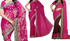 Designer Pink Saree | GEORGET SAREE WITH DHUPIAN BLOUSE  Sarees collection in Bollywood Style you can get perfect satisfaction along with best quality products from fashion4styel first time new trend fashion store online   #fashion #newtrend #fashionstore #dresses #onlinecloth #prettydresses #Bollywood #november #thursday #indore #Delhi #mumbai #india #saree #sari http://www.fashion4style.com/woman/clothing/bollywood-replica-saree/designer-pink-saree/pid=MTYz