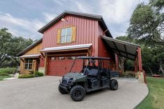 The garage, the wood, the red...this would be a great start to barn life living!