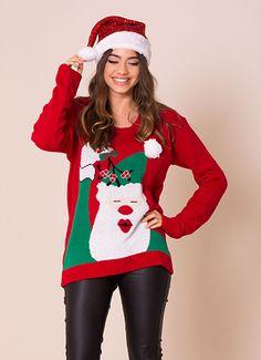 Red Santa Mistletoe Christmas Jumper