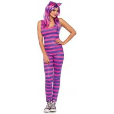 Darling Cheshire Cat Womens Costume text_price $50.00 Adorable bright purple and pink stripe catsuit has an attached furry tail and scoop neck. Comes with the matching cat ears headband. Other items shown sold separately. #cosplay #costumes #halloween
