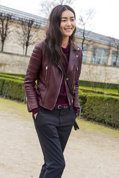 Cabernet color leather jacket (not black!) and eschewing skinny jean for fitted trouser