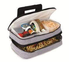 Entertainer Hot & Cold Food Carrier Colors: Houndstooth by Picnic Plus. $41.99.  The Picnic Plus Entertainer hot  cold food carrier is perfect for transporting casseroles and meals to pot luck dinners, tailgating, picnics, home and outdoor functions . The Entertainer can hold both hot and cold foods in the 2 expandable sections. The full thermal foil insulated lower section holds up to an 11 x 15 (5 QT) casserole dish (not included). The 2 large f...