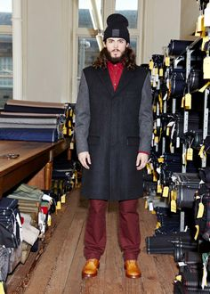 LOOK 2   SKI HAT - GVAW14600900100 - BLACK  TAILORED OVERCOAT - GVAW14102475380 - CHARCOAL  MOLESKIN SHIRT - GVAW14301285740 - BURGUNDY  CHINO PANT - GVAW14400240740 - BURGUNDY#guiltyvine #menswear #fashion