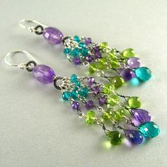 Mixed Metal Amethyst Peridot and Quartz Dangle by SurfAndSand