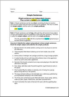 Worksheets: Grammar- Simple Sentences (elem/upper elem) - Identify the ...