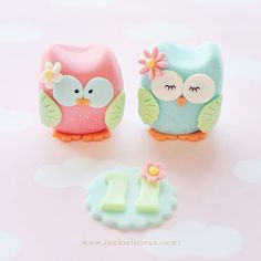 Baby Blue & Soft Pink Girl Owls Fondant Cake Topper