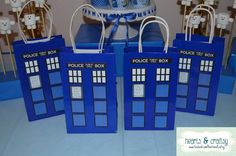 Doctor Who Party Favor / Gift Bag  Tardis by HeartsandCraftsy