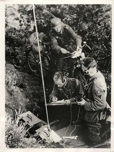 1938- Dispatch rider delivering a message to the battalion field radio station of the German 3rd Army Corps during maneuvers at Juterbog.