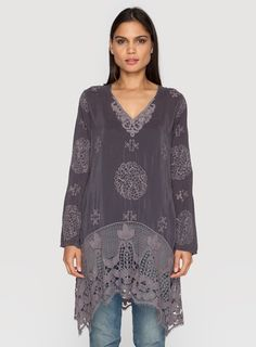 Lacy V-Neck Top  Grey Onyx