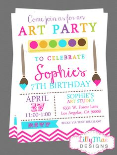 Hey, I found this really awesome Etsy listing at https://www.etsy.com/listing/180008766/art-party-invitation-digital-file