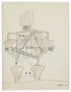Saul Steinberg (American, 1914-1999), Cowboy, 1952. Color pencil and ink on paper, 36.8 x 28.6 cm.