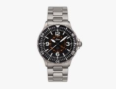 """857 UTC TESTAF ($2470) features a 43-millimeter hardened steel case with a legible dial offering not only local time and date but also a display for a second time zone. """"TESTAF"""" (German for """"Technical Standard for Pilot's Watches"""") means that the 857 UTC has been certified for use as a pilot's watch: it's both water resistant to 660 feet and low-pressure resistant with an active anti-fogging system"""