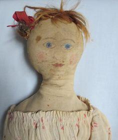 "Antique 17"" Rag Cloth Doll Ink Drawn Features Antique Clothes Cir 19th C"