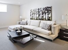 This is the optional family room in the finished basement of the Marigold semi-bungalow in Russell Trails. Finished Basements, New Home Builders, Semi Detached, Marigold, Model Homes, Bungalow, Townhouse, Family Room, New Homes