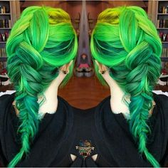 Yellow and green hair color #braids #hairstyle