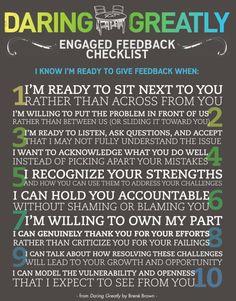 Daring Greatly Engaged Feedback Checklist