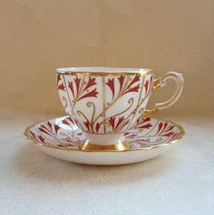 Fluer de Lis Art Nouveau Tuscan Fine English Bone China Teacup Saucer | eBay