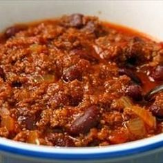 Beef Chili with Beans on BigOven: This chili with beans and meat recipe is a favorite in our house, and can be seasoned to taste to create a mildly flavored dish or one that is extra hot for those who enjoy some additional spice. As is, this chili is not too spicy but has just enough kick and the ingredients that go into it, give it teriffic depth of flavor.