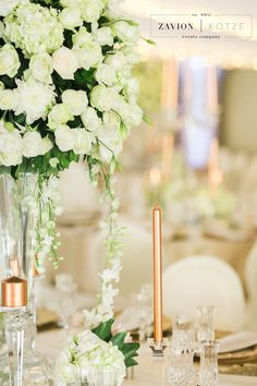 White roses, orchids mass arrangements, rose gold candles Rose Gold Candle, Gold Candles, Green Wedding, Wedding Flowers, Event Company, White Roses, Orchids, Wedding Planner, Floral Design