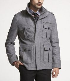 Wool Blend Military Jacket - Express  I really like this one because it has four front pockets, which is really cool.