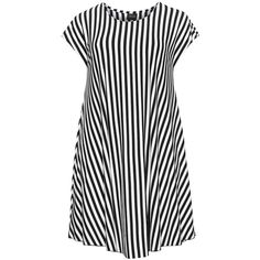 Choise Black / White Plus Size A-line striped dress ($91) ❤ liked on Polyvore featuring dresses, vestidos, black, plus size, plus size white dress, long dresses, long black dress, white a line dress and black a line dress