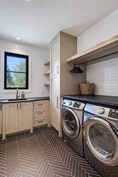 Laundry room transitional-laundry-room-with-herringbone-floor-tile-and-floating-. - Home Decor - cool Laundry room transitional-laundry-room-with-herringbone-floor-tile-and-floating-… by www. Mudroom Laundry Room, Laundry Room Layouts, Laundry Room Remodel, Laundry Room Cabinets, Small Laundry Rooms, Laundry Room Organization, Laundry Room Design, Laundry Storage, Laundry In Bathroom