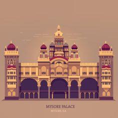 Final version #historic #palace #mysore #illustration #design #vintage #graphicdesign #travel #travelindia #india