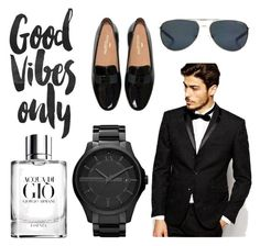 """""""Classic Man -Simplicity✔️⚫️"""" by cassienakar ❤ liked on Polyvore featuring Giorgio Armani, Vito, Armani Exchange, Smith Optics, GetTheLook and forhim"""