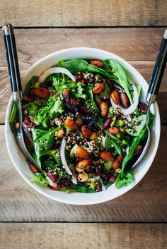 This vegan power protein salad has 30g of complete protein per serving, thanks to quinoa, kidney beans, chickpeas, and edamame.