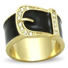 Made of solid stainless steel and finished in high quality gold ion plating (), and high quality black epoxy. This ring features 13 clear, round brilliant cut, crystal stones, in a pave setting on a belt buckle style fashion ring. Gold Belt Buckle, Gold Belts, Thin Gold Rings, Black Rings, Rose Gold Band Ring, Color, Vintage Gold Rings, Yellow Engagement Rings