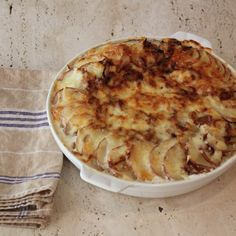 The caramelized onions in this Potatoes au Gratin add just the right amount of sweetness to the creamy potatoes -- it's a great dish to make for a crowd.