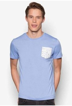 Pocket Graphic T-Shirt from UniqTee in blue_1