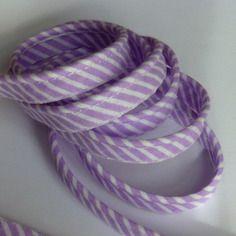 Passepoil coton à rayures violet, lilas et blanc 10mm