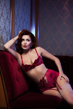 CHER Rouge Red silk satin Quarter Cup padded Bra by Lalilouche