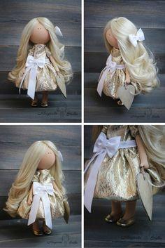Decor doll Beauty doll handmade gold white by AnnKirillartPlace