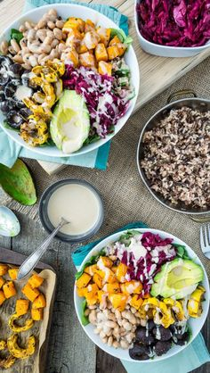 Healthy eating with grain bowls topped with tasty toppings.