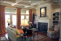 Window treatments: simple, narrow panels. Allows for lots of natural light.