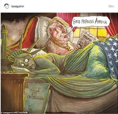 Scared lady: Rihanna later deleted her crying Statue of Liberty post to replace it with a cartoon of Trump in bed with the Statue of Liberty