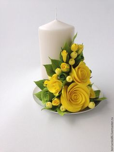 Church flowers at Easter Candle Arrangements, Church Flower Arrangements, Church Flowers, Candle Centerpieces, Floral Arrangements, Candles, Clay Flowers, Silk Flowers, Paper Flowers