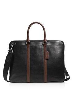 COACH Sport Calf Contrast Leather Metropolitan Slim Brief. #coach #bags #shoulder bags #hand bags #leather #lining