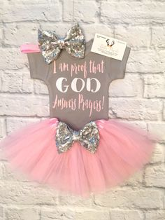 A personal favorite from my Etsy shop https://www.etsy.com/listing/502064324/baby-girl-clothes-i-am-proof-god-answers