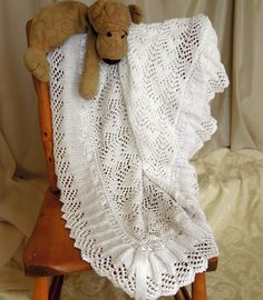 Baby Blanket, sure to become an heirloom - KNITTING - beautiful! lovely for a baptism.