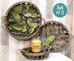 KP Creek Gifts - 3/Set, Natural Round Tobacco Baskets w/Jute Handles. An INCREDIBLE value - and oh-so versatile! You will find endless ways to style this set of three gorgeous tobacco baskets. Add your own items to create a beautiful farmhouse wall display or table display.