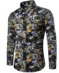 Autumn new fashion flower printed long sleeve shirts men camisa male slim flower shirts vintage Linen Casual Men Shirt Slim Fit Dress Shirts, Slim Fit Dresses, Fitted Dress Shirts, Shirt Dress, Blouse, Hippie Shirt, Camisa Floral, Hip Hop, Mens Hawaiian Shirts