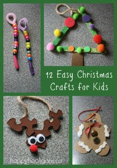 12 easy Christmas crafts for kids (happy hooligans). Could use with the younger ones for following directions/or could go with a holiday story/or vocabulary, describing, etc. etc. etc....