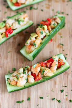 Veggie Boats: Orange Shrimp Cucumber